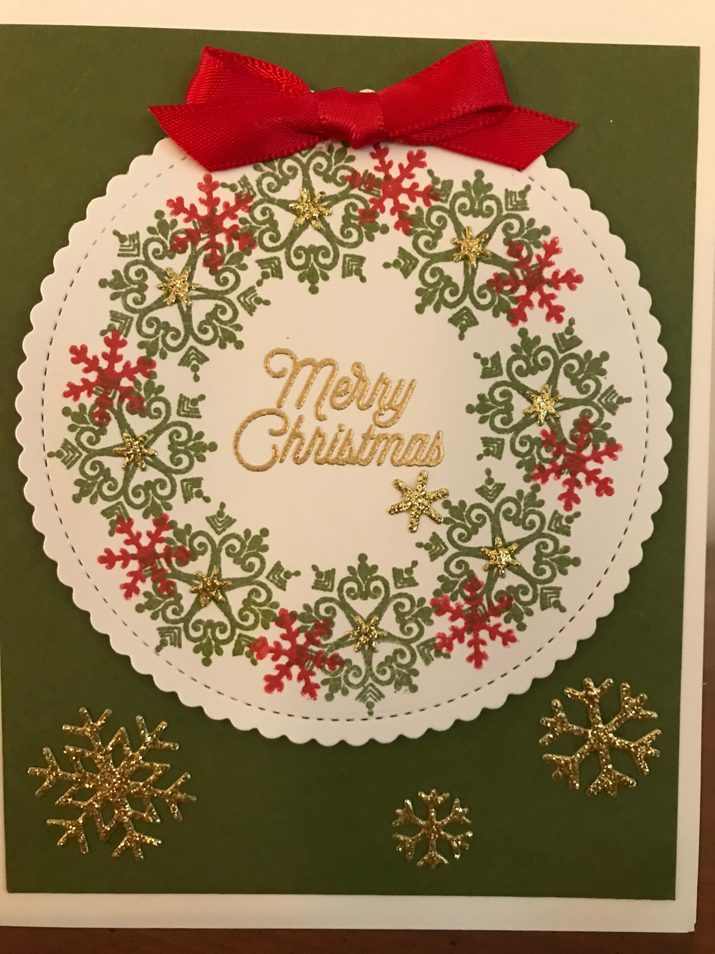 Pretty Christmas wreath card front using snowflakes instead of ...