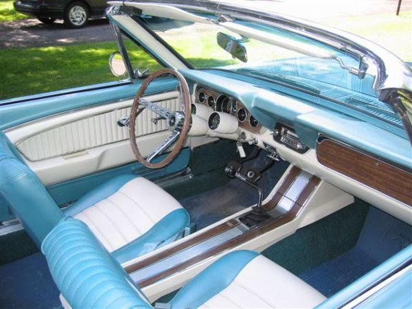 1966 pony upholstery aqua white soft trim pony upholstery 65 66 mustang cnv pinterest for Mr trim convertible tops and interiors
