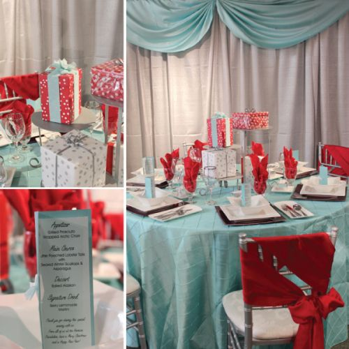 Red And Tiffany Blue Wedding Ideas: Retro Tiffany Blue & Red Holiday Table In 2019