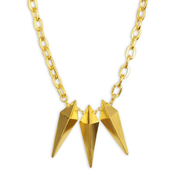 The Triple Spike Pendant Necklace- Gold