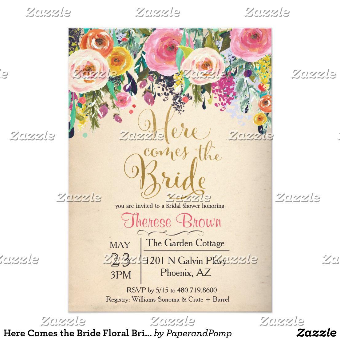 Here Comes The Bride Floral Bridal Invitation Wedding