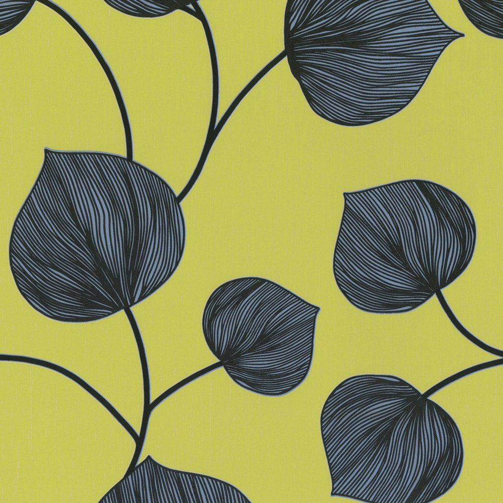 Amazon Wallpaper Lime Green / Grey / Black Green leaf