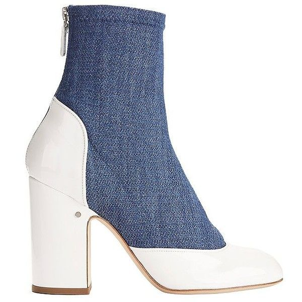 Laurence Dacade Women's Melody Denim and Patent Leather Booties ($890) ❤ liked on Polyvore featuring shoes, boots, ankle booties, chunky high heel boots, white booties, patent leather boots, white high heel boots and white chunky boots