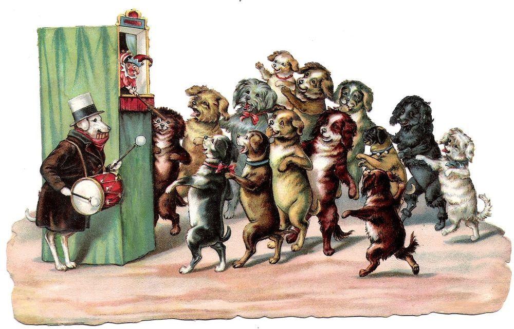 Oblaten Glanzbild scrap die cut chromo  Hund dog  XL Theater Kasperl  Punch