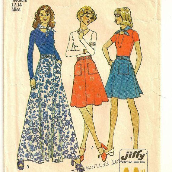 A Back Wrap Skirt in Three Lengths and Triangular Head or Neck Scarf Pattern, Vintage 1974