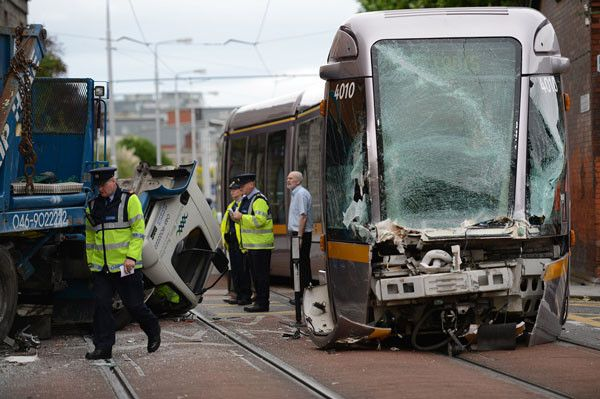 The Scene Of The Collision Between A Luas Tram And A Midland Waste