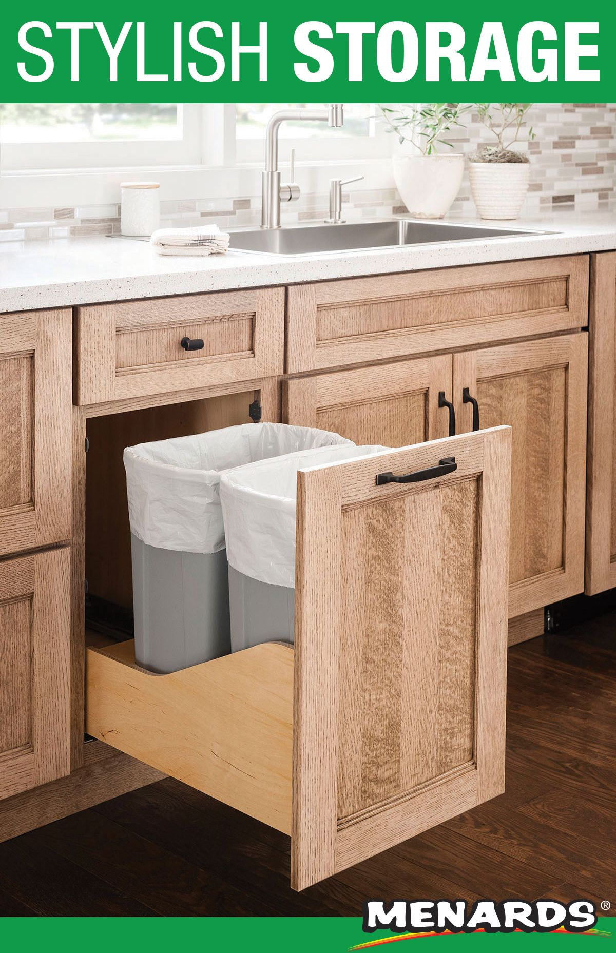 Keep Your Garbage And Recycling Tidy And Tucked Away With Medallion Cabinetry Stora Kitchen Renovation Natural Wood Kitchen Cabinets White Kitchen Countertops