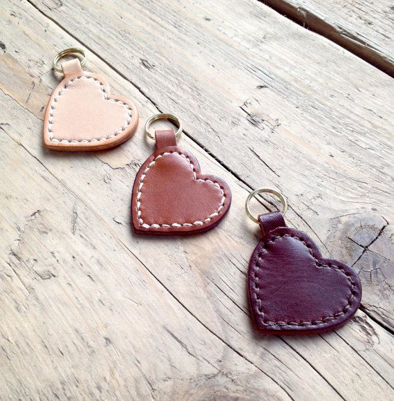 Leather Heart Key Ring by Enstoneleather on Etsy