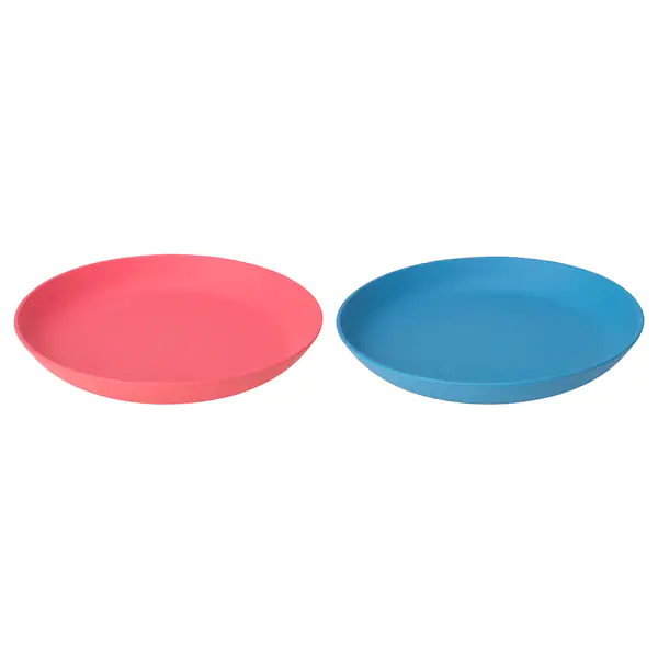 Heroisk Plate Blue Light Red Ikea In 2020 Blue Plates Side Plates Light Red