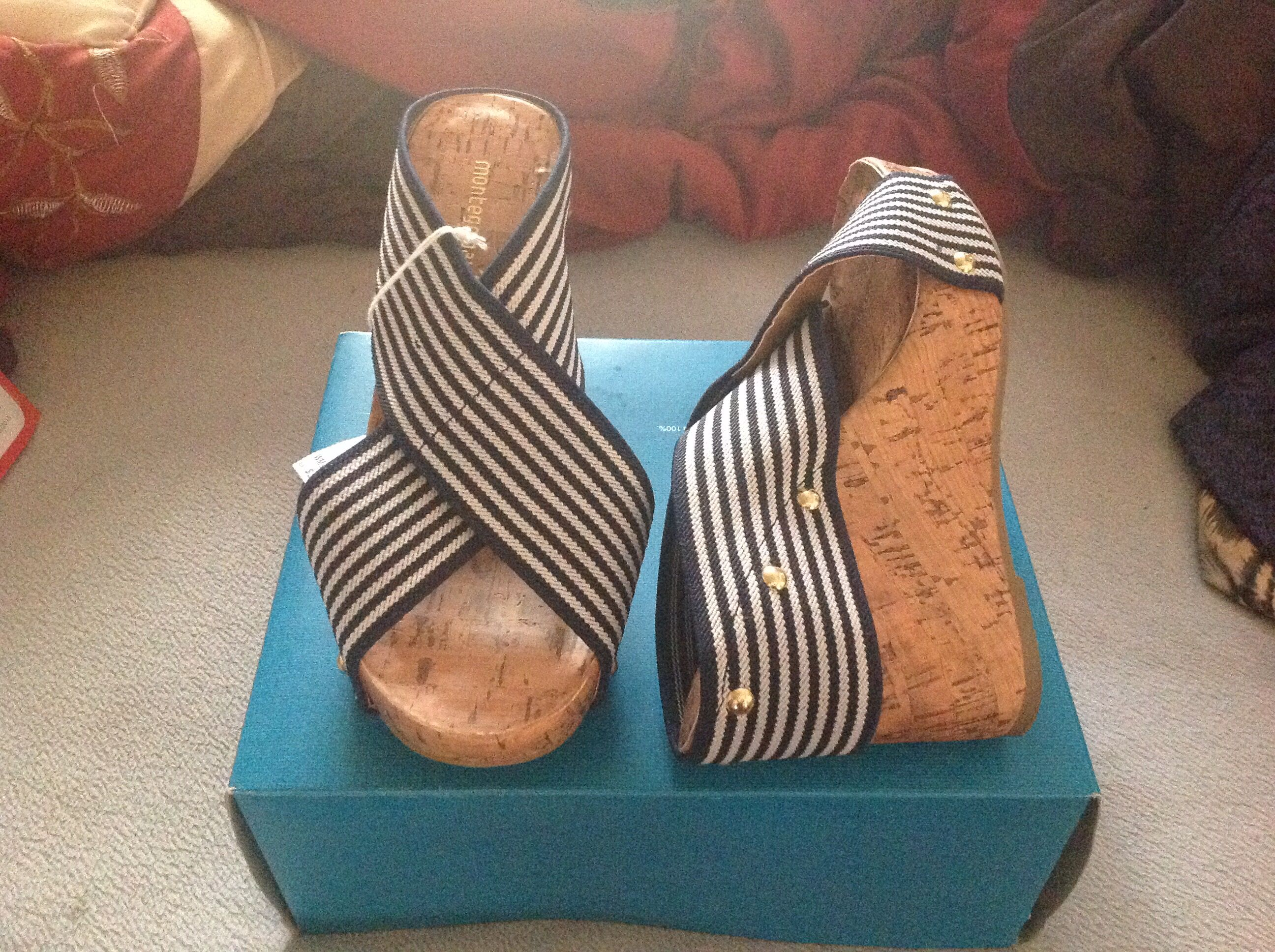 Summer shoes, navy blue white striped wedges
