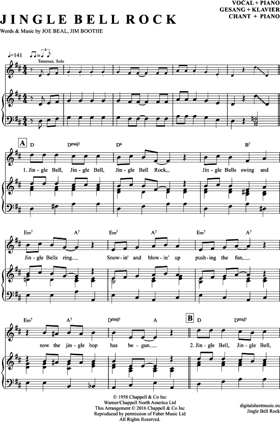 Jingle Bell Rock Klavier Gesang Pdf Noten Klick Auf Die Trio Noten Um Reinzuhoren Noten Zum Download Fur Versc Klaviernoten Klavier Noten Klavier