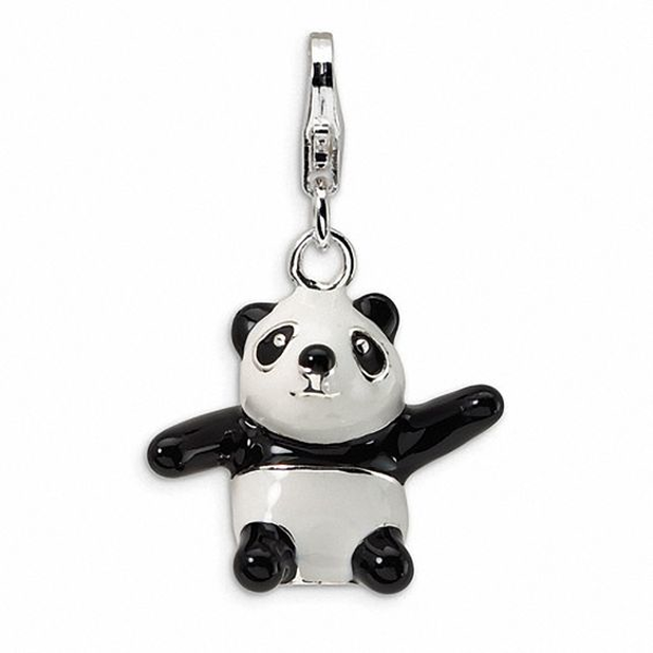 Amore La Vita™ Black and White Panda Bear Charm in Sterling Silver