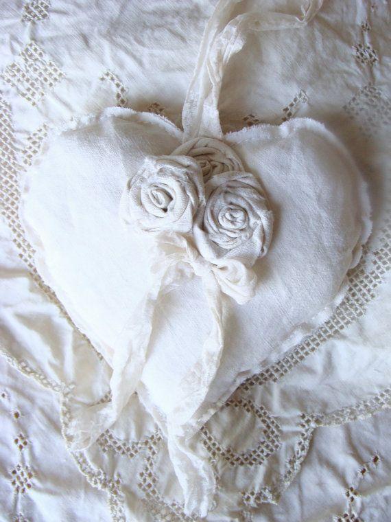 Vintage Linen Heart Fabric Heart Shabby Heart by ShabbySoul
