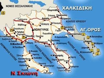 Map Location Blue Sky Apartments Vourvourou Sithonia Halkidiki