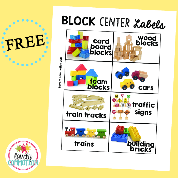 image regarding Free Printable Classroom Labels With Pictures named Preschool Block Centre Beautiful Commotion Weblog Articles Block