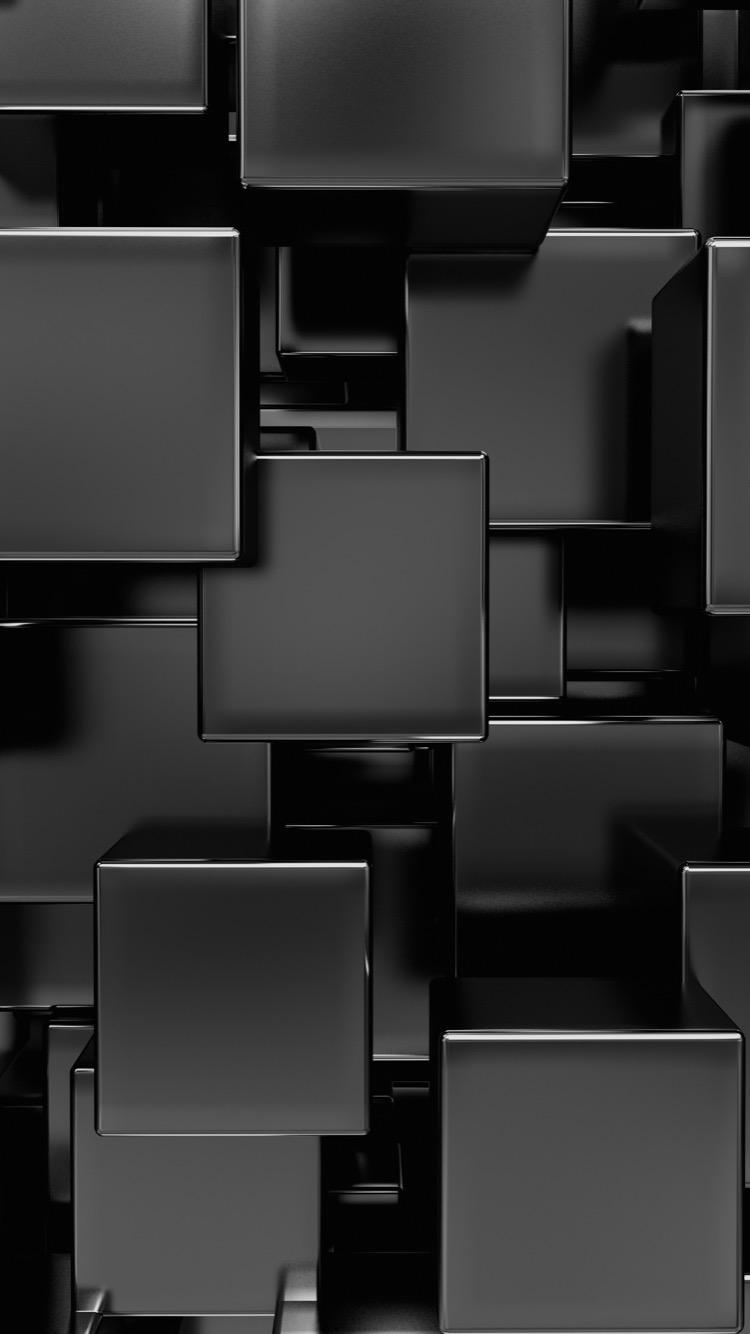 Shiny Black Squares Abstract Wallpaper Papel de parede