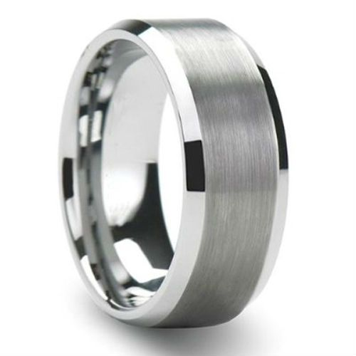 Tailor Made Brush Finish Tungsten Ring Beveled Wedding Band Size 4