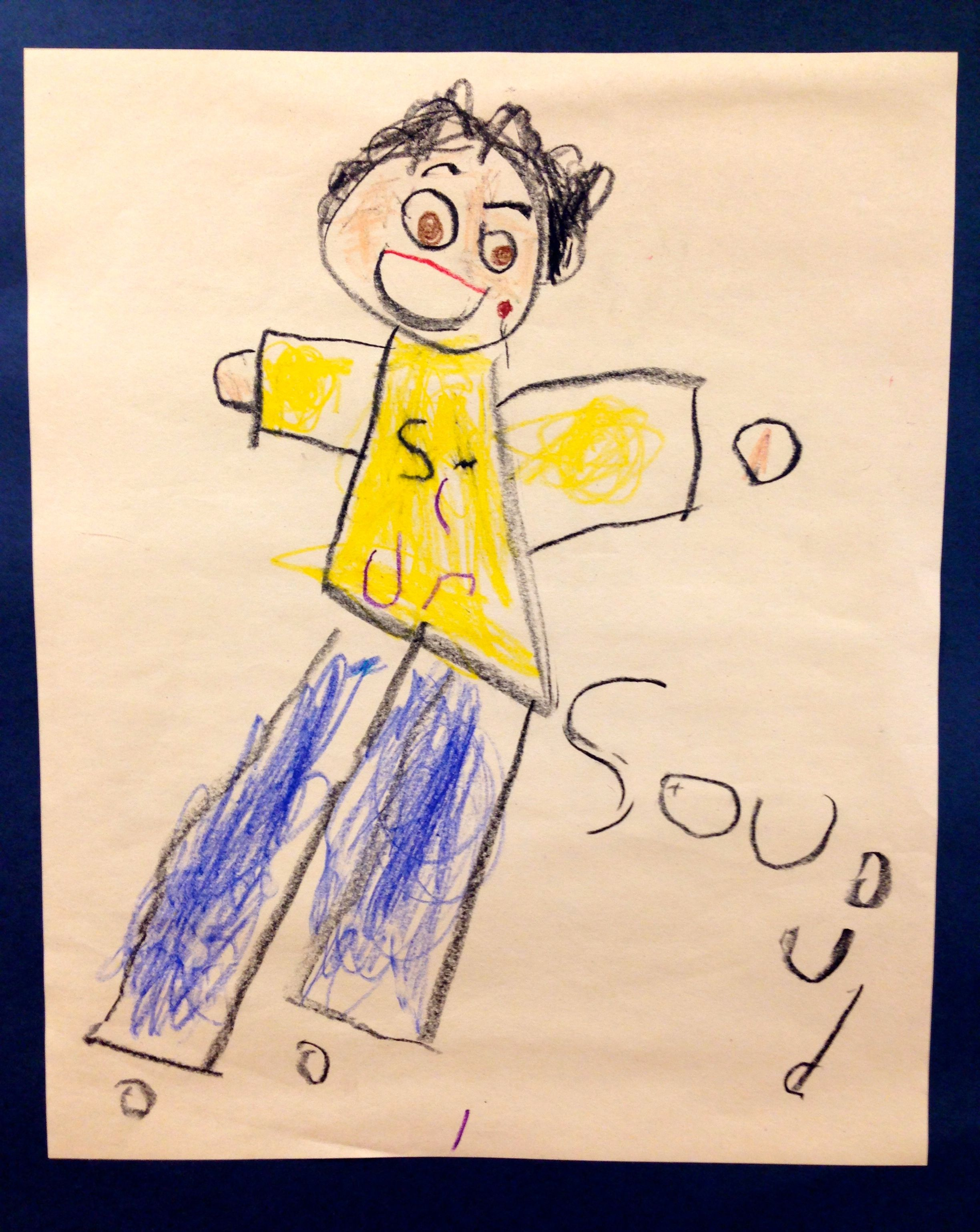 Kindergarten class learns to draw the body