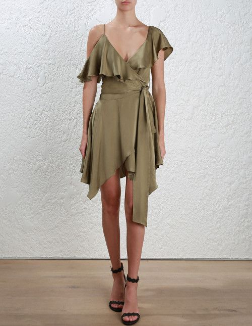 ff1e723a9c8 ZIMMERMANN Sueded Asymmetric Wrap Dress (Nude) – Coco Wellington ...