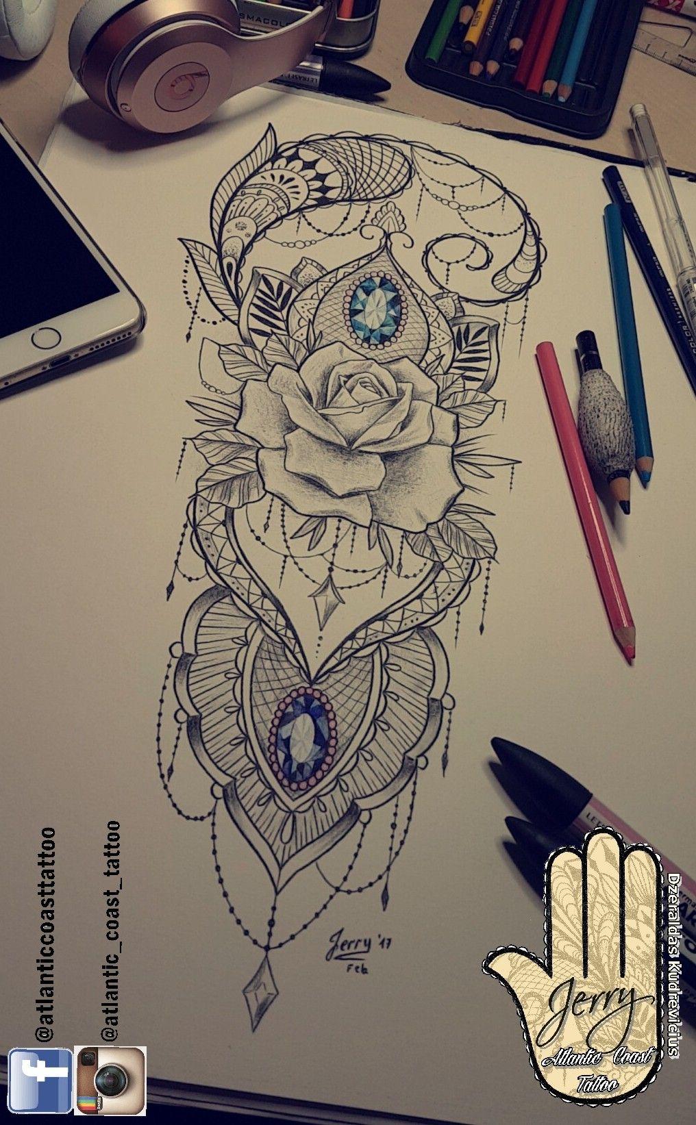 Beautiful Thigh Tattoo Ideas By Dzeraldas Jerry Kudrevicius From Atlantic Coast Tattoo Mandala Lotus Rose La Arm Sleeve Tattoos Back Piece Tattoo Lace Tattoo