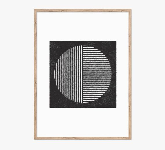 Printable Art, Linocut, Digital, Monochrome Wall Art, Minimalist, Bedroom Art, Ethnic Print, Contemporary Art, Print Set, Circle Art, Shapes is part of Minimalist bedroom Art - ThePrintableStudio Thanks for visiting) Roseanne