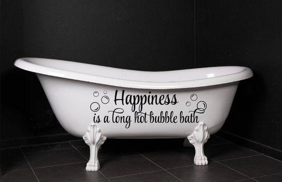 Bon Bathroom Decor Happiness Is A Long Hot Bubble Bath By NewYorkVinyl, $24.00