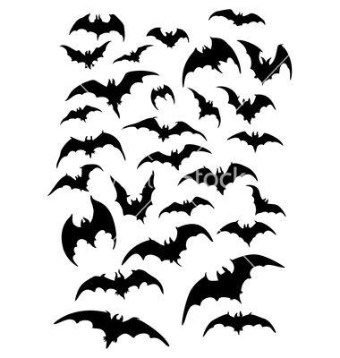 Bats Silhouettes Set Vector Image On Vectorstock Bat Silhouette Bat Art Bat Sketch