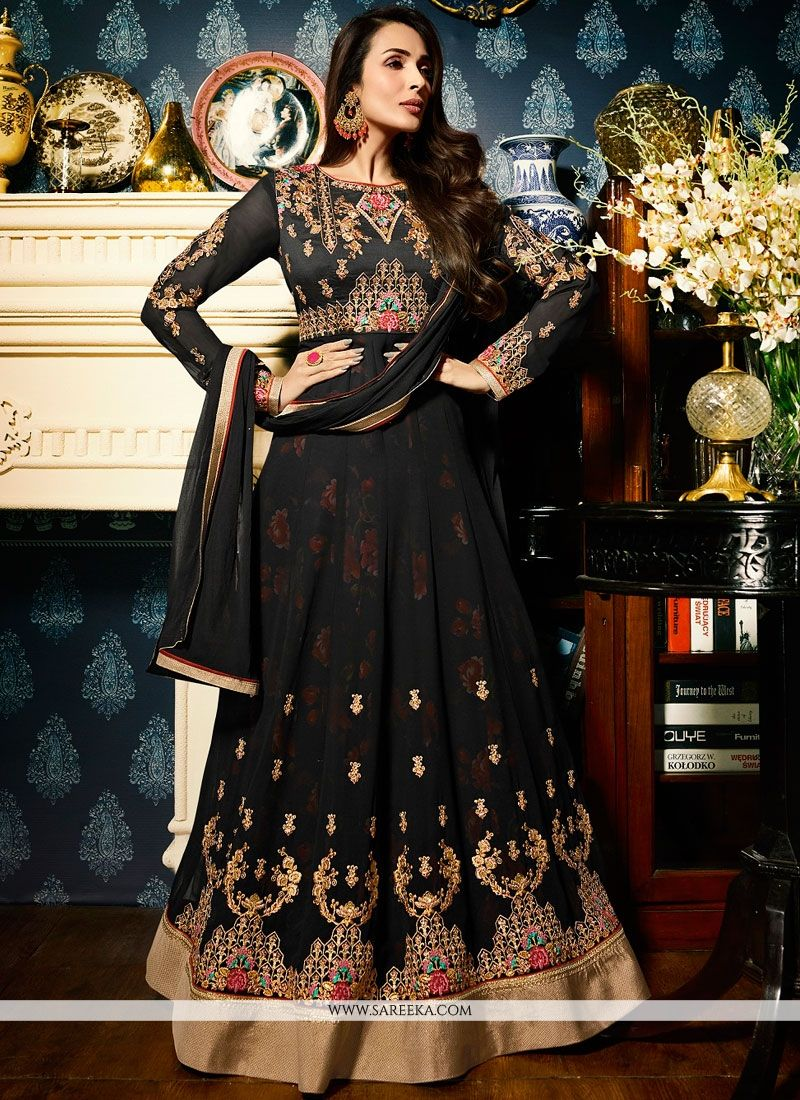 409b4ac03ea ... beautiful Malaika Arora Khan black faux georgette floor length anarkali  suit. This attire is beautifully adorned with embroidered