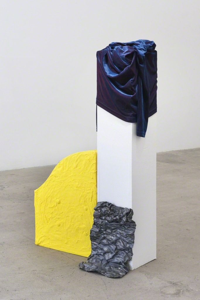"""exasperated-viewer-on-air: """" Donna Huanca - WAYNE ON ME, 2014 velvet, metal, wood, paint, canvas 44 × 24 × 14 in / 111.8 × 61 × 35.6 cm """""""