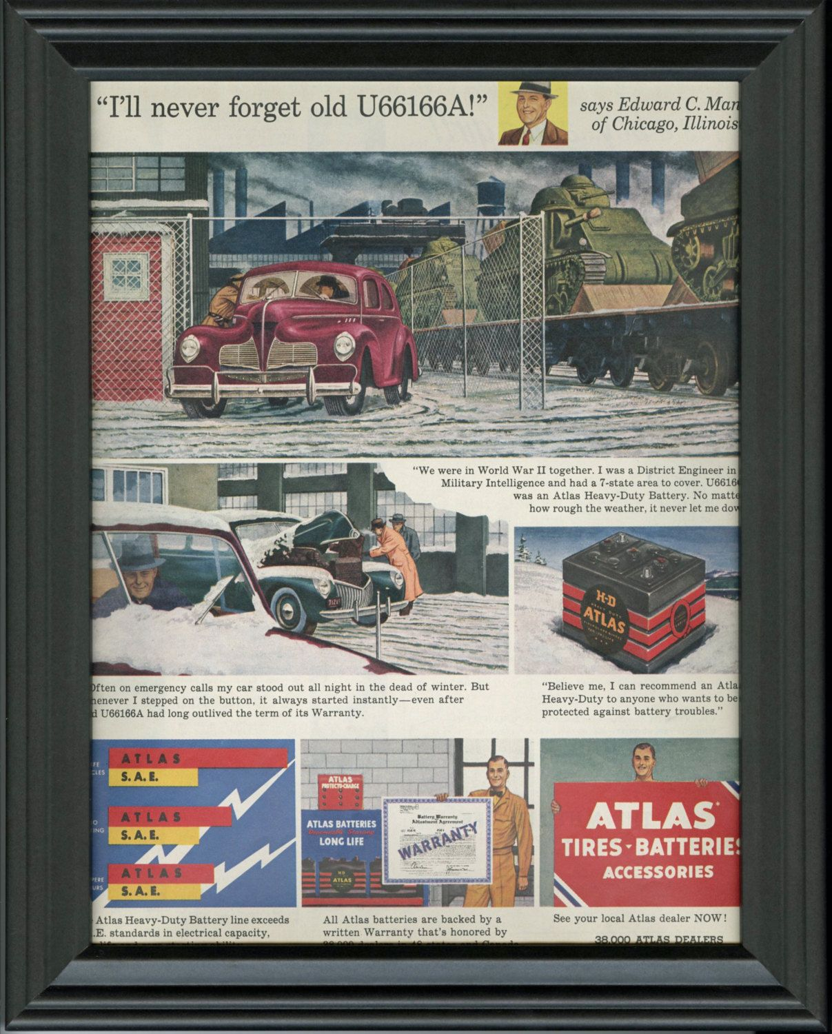 1951 Vintage Petroliana Ad Atlas Batteries Old Battery Chevy Vin Tag Advertisement Garage Wall