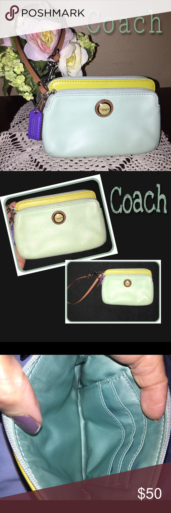 Pretty Two Tone Wristlet This is so cute. Double zipper. Double pockets with card holders. See pictures. Used one time. The green is a very pretty mint green. I will continue to get a better pic. 100% Authentic. Notice the PURPLE hang tag!!  So cute! Coach Bags Clutches & Wristlets