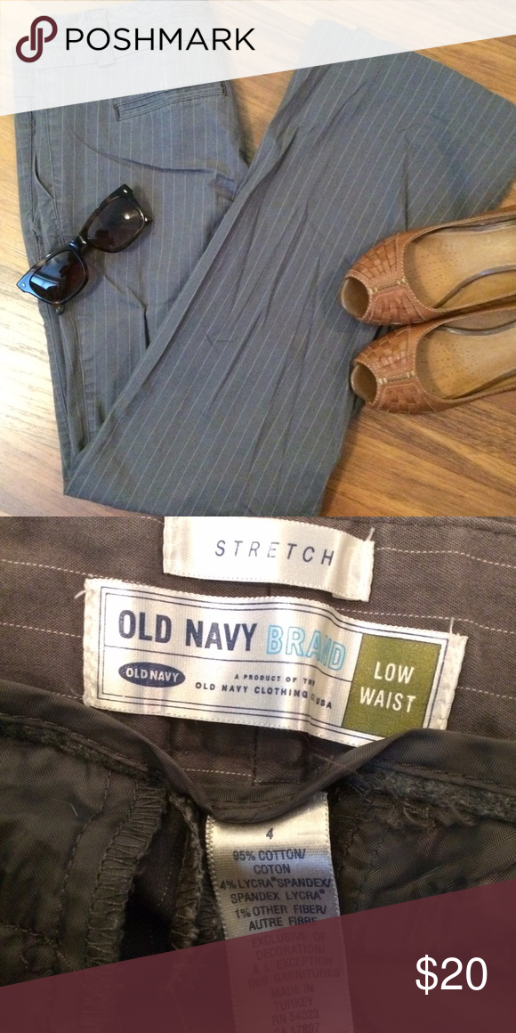 Pin stripes pants Look professional in these pin striped gray pants. Super comfy and stretchy. Never worn, no tags Old Navy Pants Boot Cut & Flare