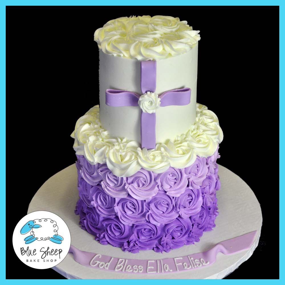 Purple Ombre Ercream Christening Cake