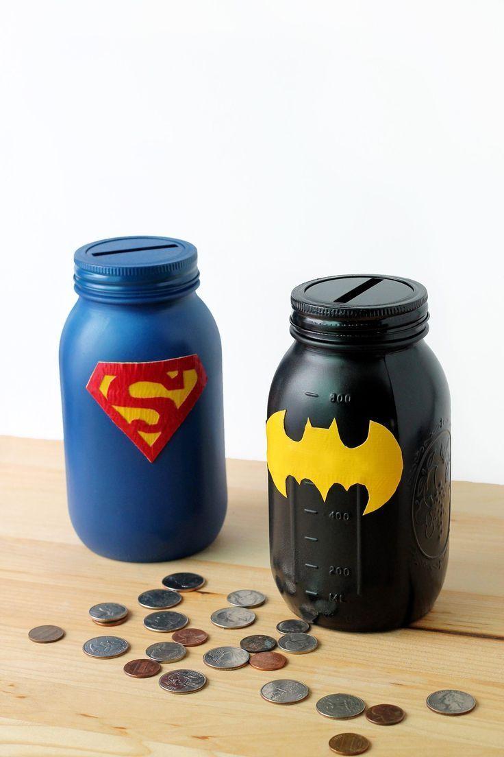 Diy superhero mason jar bank superhero mason jar bank and crafts