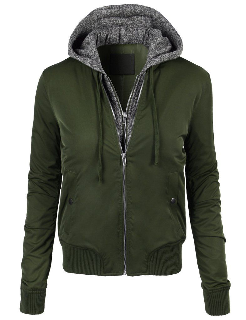 Le3no Womens Windbreaker Long Sleeve Bomber Jacket With Hoodie Bomber Jacket With Hoodie Womens Windbreaker Hoodie Jacket [ 1024 x 785 Pixel ]