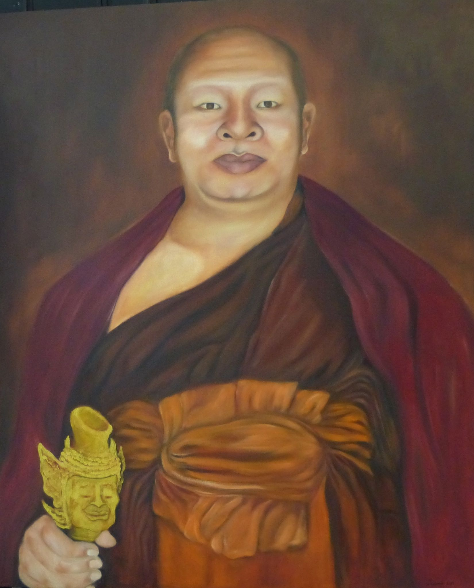 A portrait I did for a leading Monk from Northern Thailand. Oil on canvas