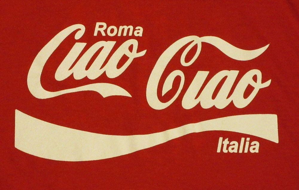 3183af1b70b CIAO CIAO Roma Italia size S Coca-Cola Logo parody graphic tee shirt   PrintMe  GraphicTee
