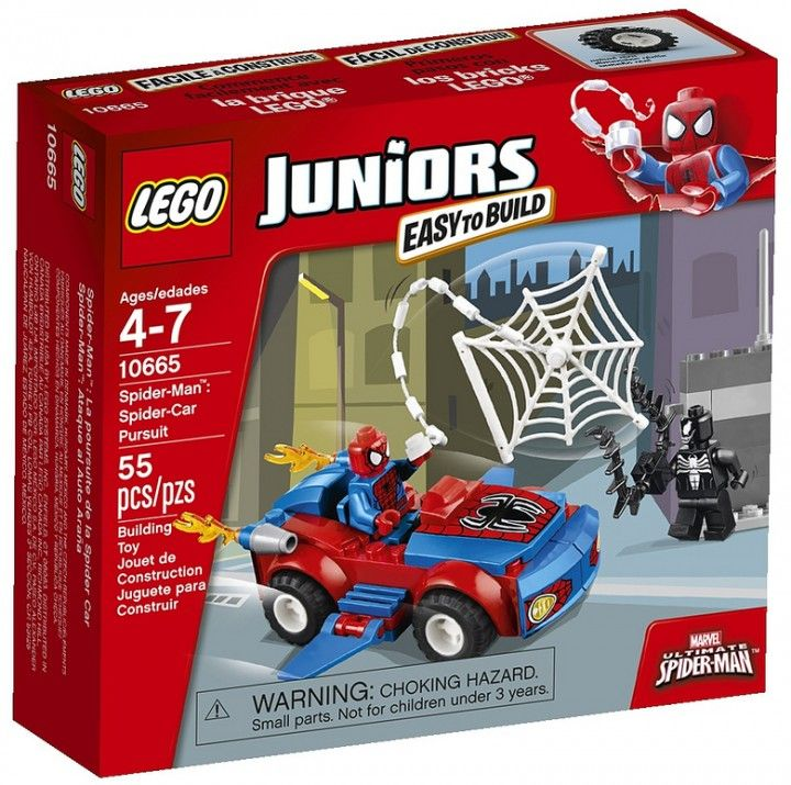 lego juniors spider man spider car pursuit 10665 box