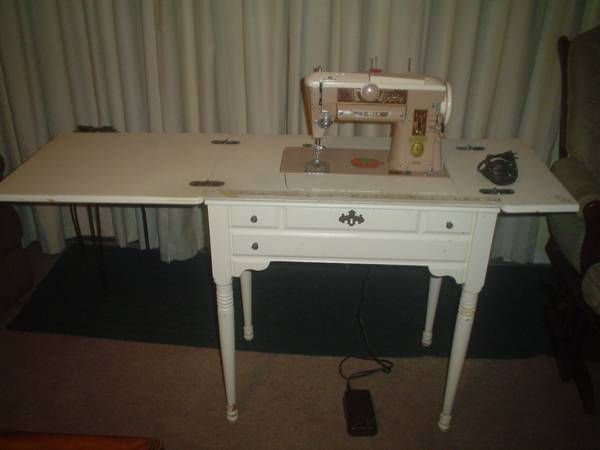 SINGER 40a SlantoMatic SEWING MACHINE And Foldaway Table Cabinet Interesting Singer Sewing Machine 1950 In Cabinet