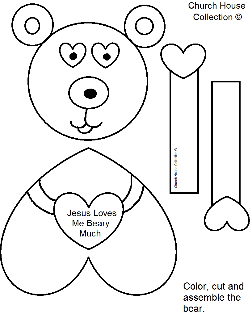 Childrens christian valentine coloring pages -  Jesus Loves Me Beary Much Valentine S Day Craft For Kids In Sunday School Or Children S Church Free Printable Template Patterns