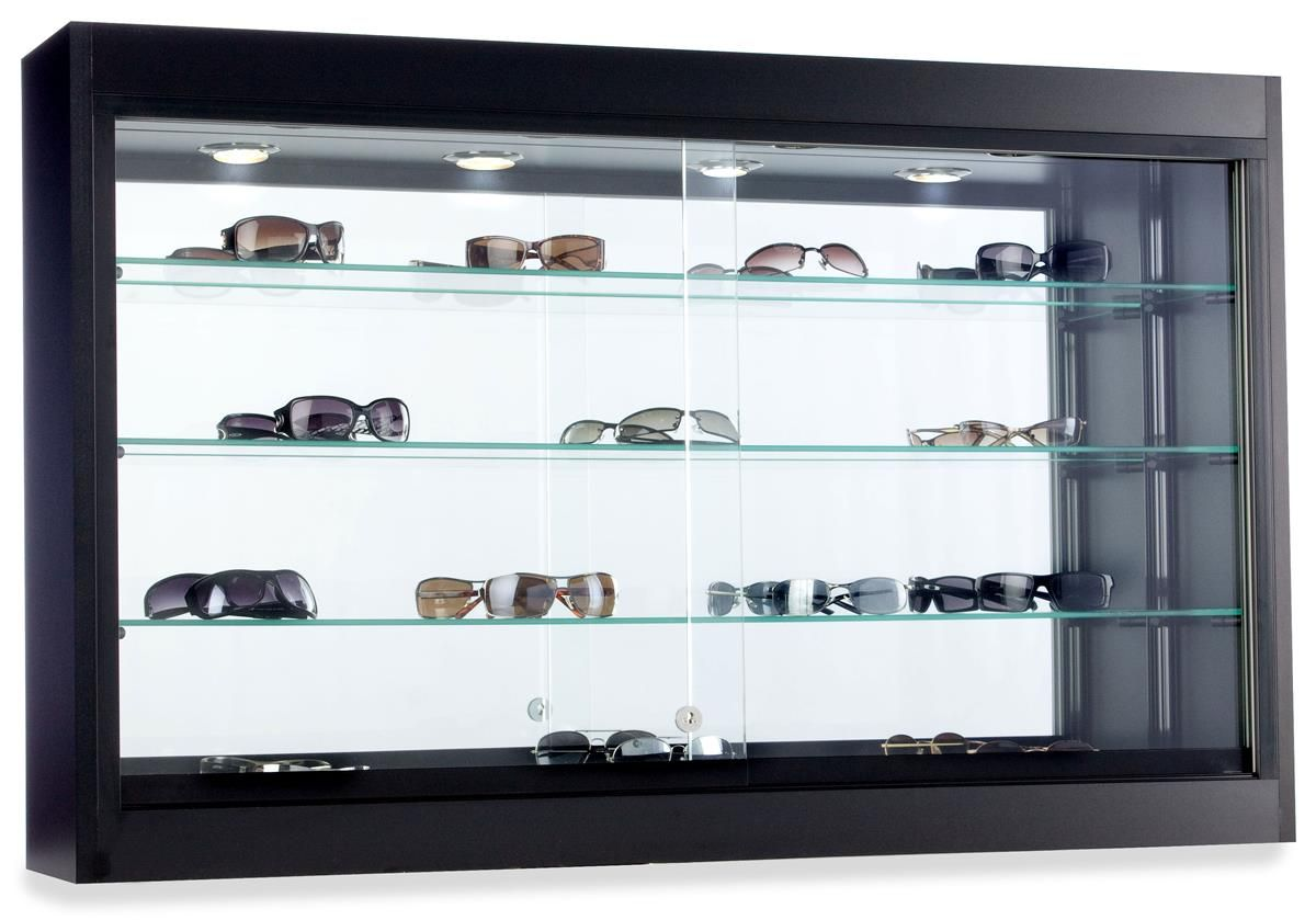 Glass Wall Display Case W 3 Adjustable Shelves Lockable