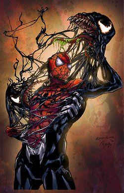 Lifeandwhiskers Spiderman Vs Venom Colored By Ladyorange