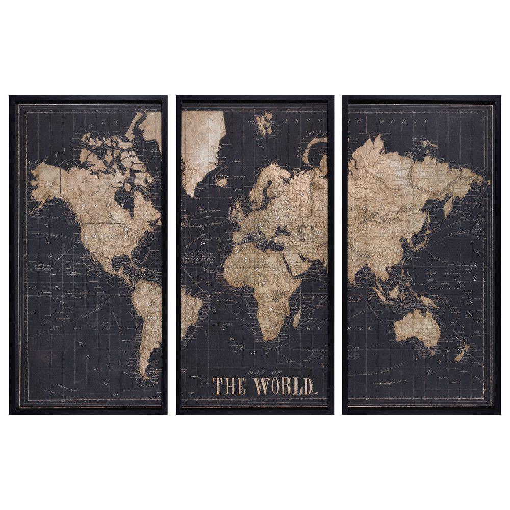 Carte Du Monde Noir.Cadre Triptyque Carte Du Monde Noir 180x120 In 2019 Global