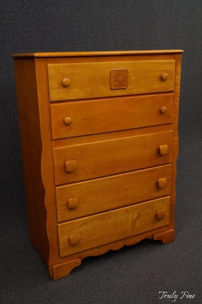 Virginia House Rock Maple Mid Century 5 Drawer Chest Of Drawers Dresser Bedroom