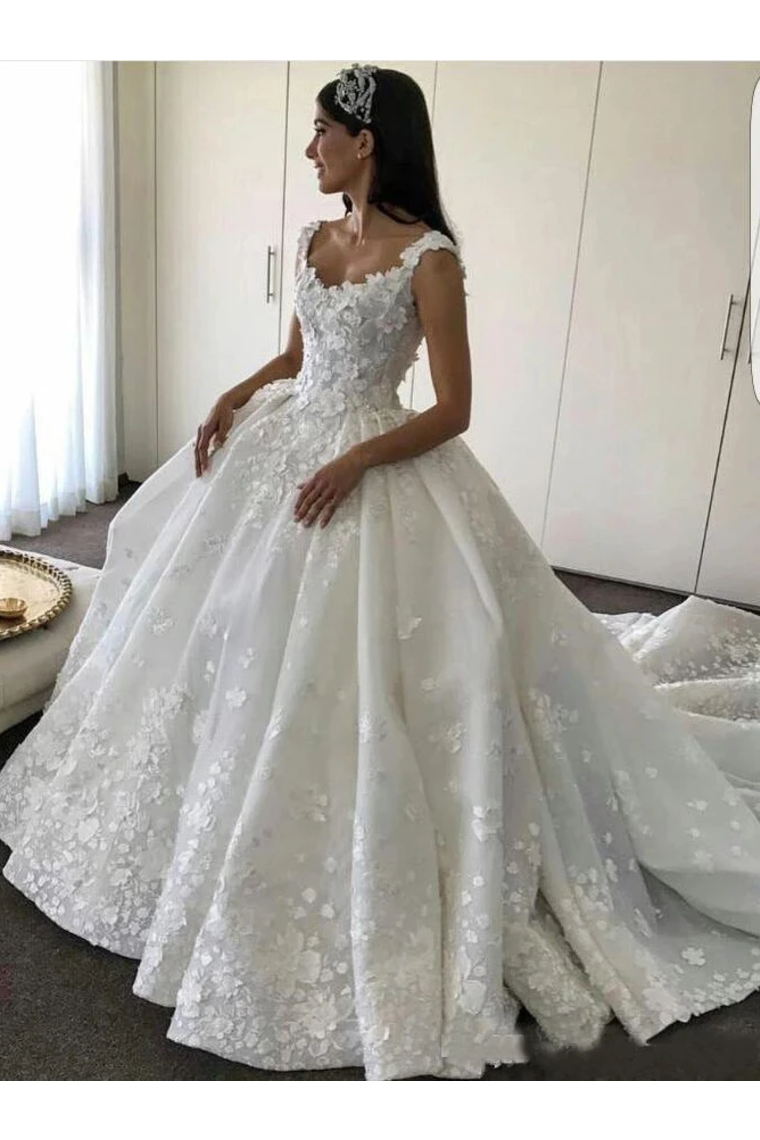 Ball Gown Straps Sweetheart Wedding Dresses Appliques