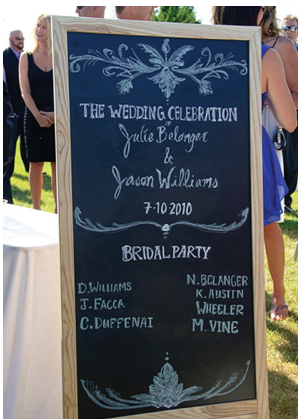 chalkboard program...perfect for Consuelo & Eric's wedding Aug. 31st..