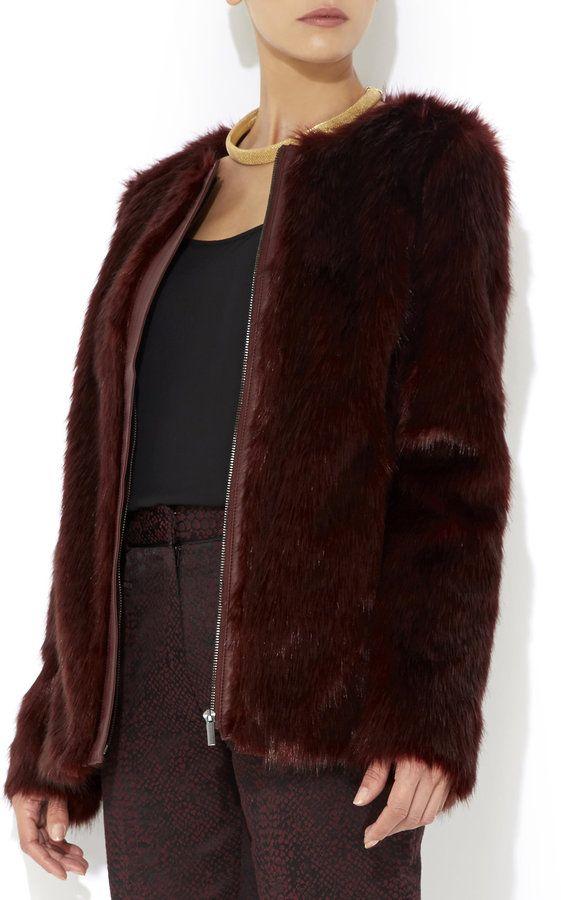 Dark Green Collarless Open Front Faux Fur Coat