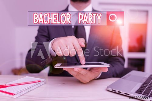 Handwriting text Bachelor Party. Conceptual photo a party given for a analysis who is about to get married Male human wear formal clothes present presentation use hi tech smartphone , #SPONSORED, #party, #photo, #married, #analysis, #Conceptual #Ad