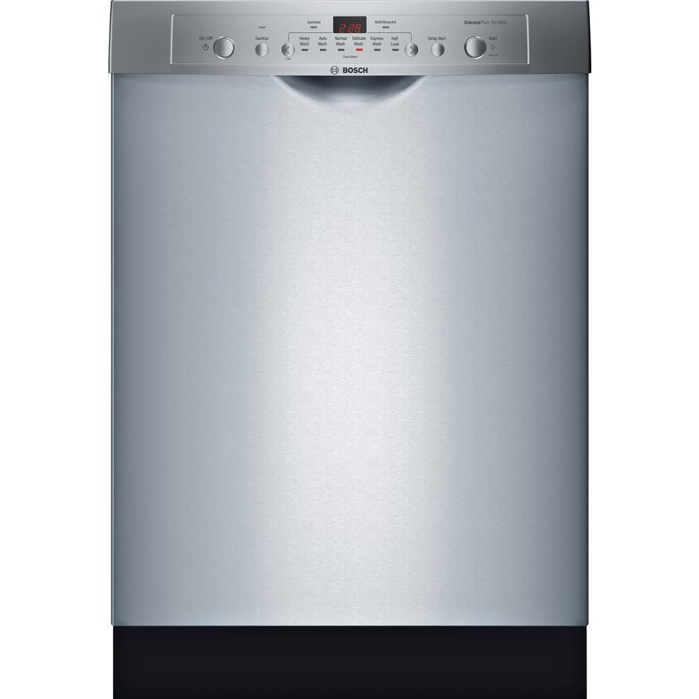 Bosch Ascenta 24 In Stainless Steel Front Control Tall Tub Dishwasher With Hybrid Stainless Steel Tub 50 Dba She3ar75uc The Home Depot Built In Dishwasher Steel Tub Bosch Dishwashers