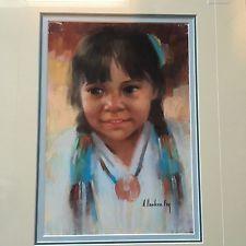 Arlene Hooker Fay (1937 - 2001) - Portrait of Young American Indian Girl kp